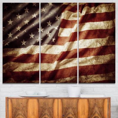 Designart American Flag Contemporary Canvas Art Print - 3 Panels