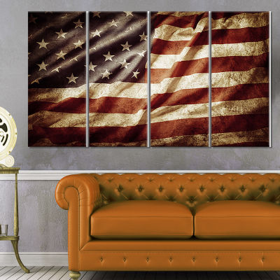 Designart American Flag Contemporary Canvas Art Print - 4 Panels
