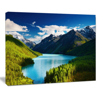 Designart Mountain Lake In Dark Shade Landscape Photo Canvas Art Print