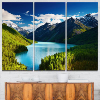 Designart Mountain Lake In Dark Shade Landscape Photo Canvas Art Print - 3 Panels