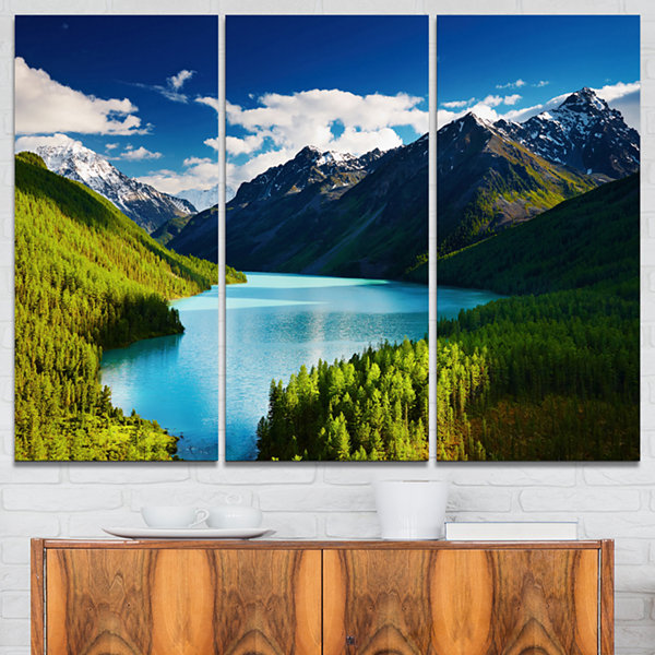 Design Art Mountain Lake In Dark Shade Landscape Photo Canvas Art Print - 3 Panels