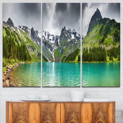 Designart Mountain Lake Panorama Photography Canvas Art Print - 3 Panels