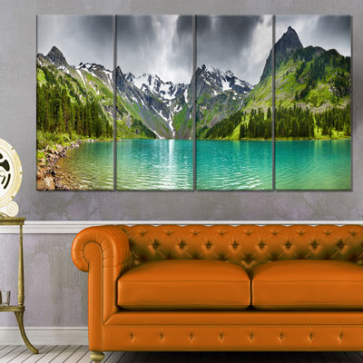 Designart Mountain Lake Panorama Photography Canvas Art Print - 4 Panels