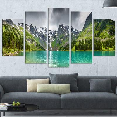 Designart Mountain Lake Panorama Photography Canvas Art Print - 5 Panels