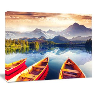 Design Art Boats Heading To Lake Landscape Art Print Canvas