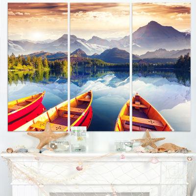 Designart Boats Heading To Lake Landscape Art Print Canvas - 3 Panels