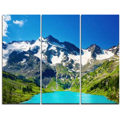Design Art Green Mountain Lake Photography Canvas Art Print - 3 Panels