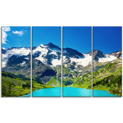 Designart Green Mountain Lake Photography Canvas Art Print - 4 Panels