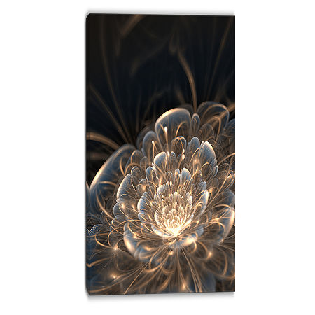 Design Art Fractal Flower With Golden Rays Art Canvas Print, One Size , Yellow