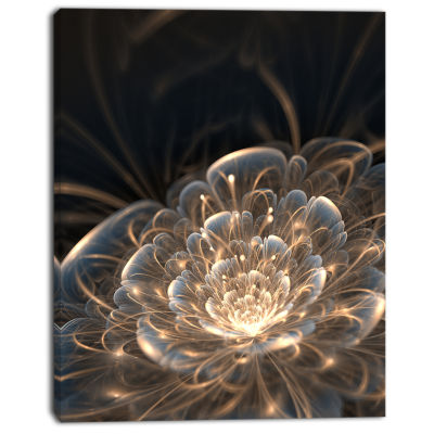 Design Art Fractal Flower With Golden Rays Art Canvas Print