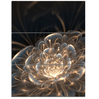 Design Art Fractal Flower With Golden Rays Art Canvas Print - 3 Panels