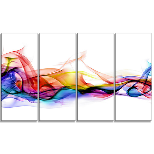 Designart Abstract Smoke Contemporary Artwork - 4Panels