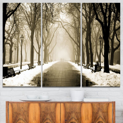 Designart Fog In Alley Vintage Style Landscape Photography Canvas Print - 3 Panels