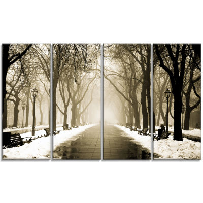 Designart Fog In Alley Vintage Style Landscape Photography Canvas Print - 4 Panels