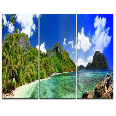 Designart Tropical Scenery Landscape PhotographyCanvas Art Print - 3 Panels