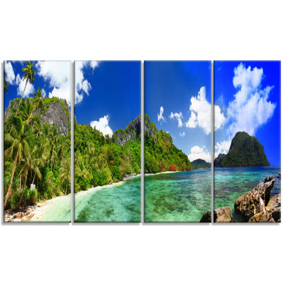 Design Art Tropical Scenery Landscape Photography Canvas Art Print - 4 Panels