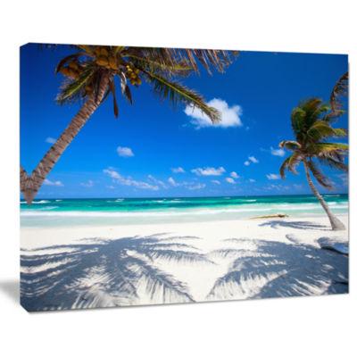 Design Art Coconut Palms At Beach Photo Landscape Canvas Art Print