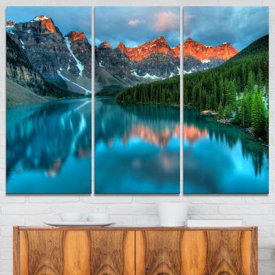 Designart Moraine Lake Sunrise Landscape Photography Canvas Art Print - 3 Panels