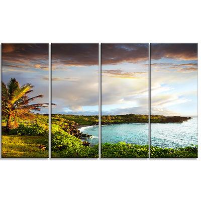 Designart Hawaii Oahu Island Photography Canvas Art Print - 4 Panels