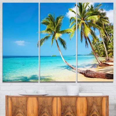 Designart Tropical Beach Photography Seascape Canvas Print - 3 Panels