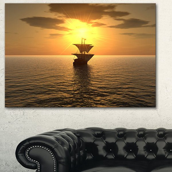 Designart Ship And Sunset Seascape Photography Canvas Art Print