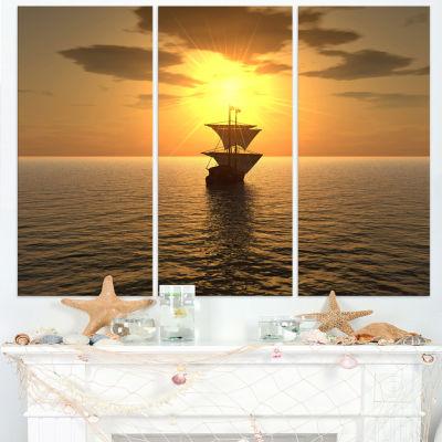 Designart Ship And Sunset Seascape Photography Canvas Art Print - 3 Panels