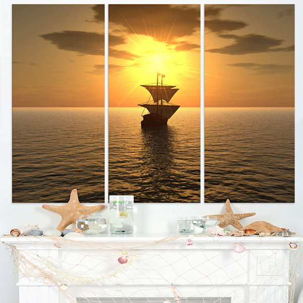Design Art Ship And Sunset Seascape Photography Canvas Art Print - 3 Panels