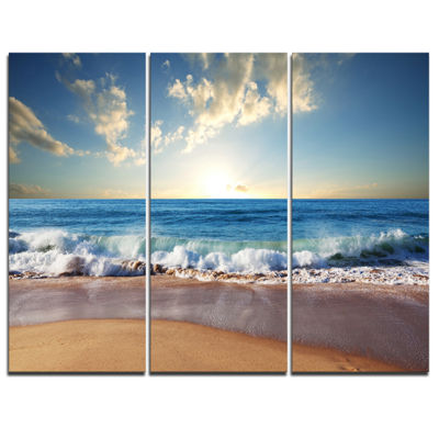 Designart Sea Sunset Seascape Photography CanvasArt Print - 3 Panels
