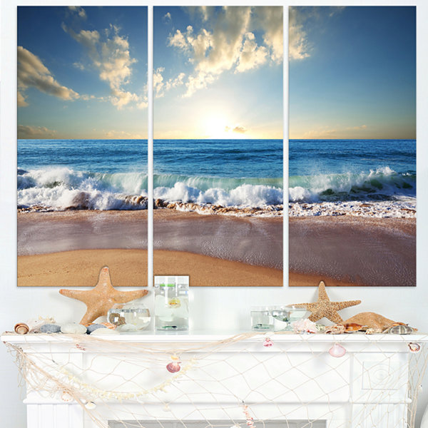 Design Art Sea Sunset Seascape Photography CanvasArt Print - 3 Panels