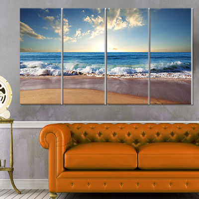 Designart Sea Sunset Seascape Photography CanvasArt Print - 4 Panels