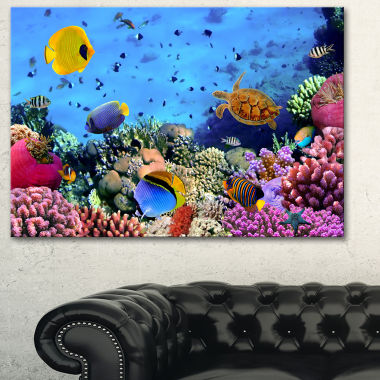 Designart Coral Colony And Coral Fishes Seascape Canvas Art Print