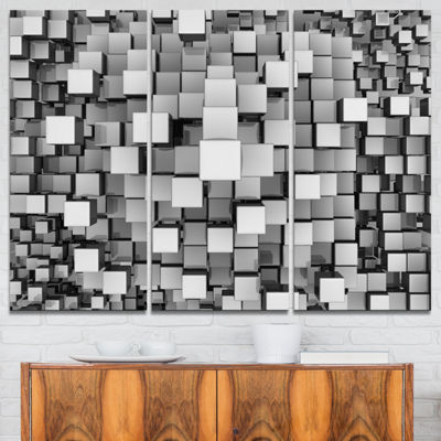 Designart Black And Grey Cubes Contemporary CanvasArt Print - 3 Panels