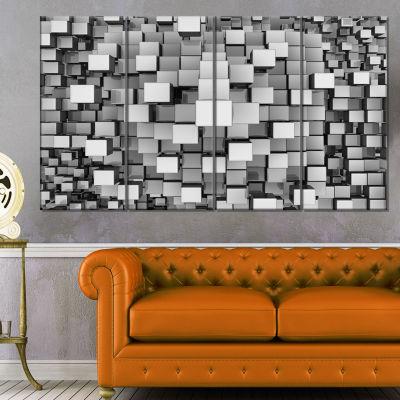 Designart Black And Grey Cubes Contemporary CanvasArt Print - 4 Panels