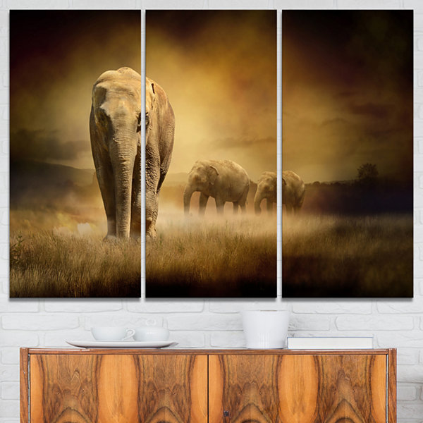 Design Art Elephants At Sunset Animal Canvas Art Print - 3 Panels