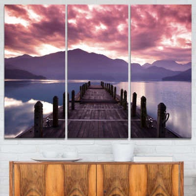 Designart Beautiful Spring Sea At Morning Photography Canvas Art Print - 3 Panels