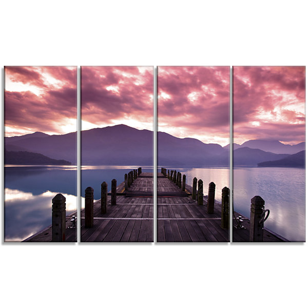 Designart Beautiful Spring Sea At Morning Photography Canvas Art Print - 4 Panels