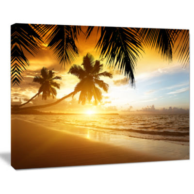 Designart Sunset Over Caribbean Sea Photography Canvas Art Print