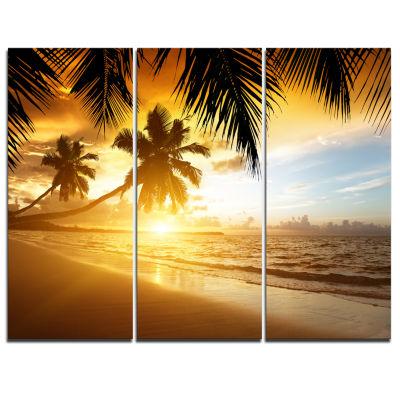 Designart Sunset Over Caribbean Sea Photography Canvas Art Print - 3 Panels
