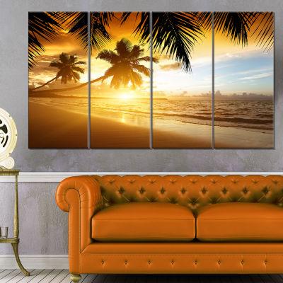 Designart Sunset Over Caribbean Sea Photography Canvas Art Print - 4 Panels