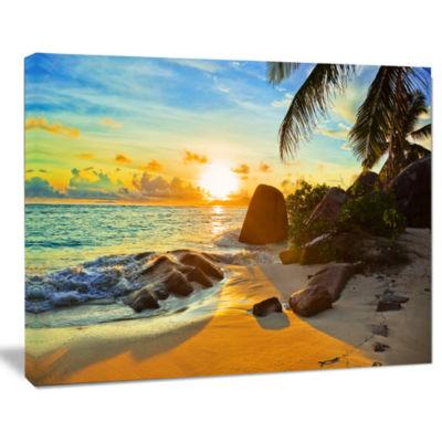 Design Art Sunset In Tropical Beach Landscape Photography Canvas Print