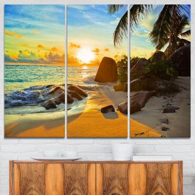Designart Sunset In Tropical Beach Landscape Photography Canvas Print - 3 Panels