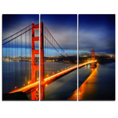 Design Art Golden Gate Bridge Landscape Photography Canvas Print - 3 Panels