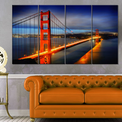 Designart Golden Gate Bridge Landscape PhotographyCanvas Print - 4 Panels
