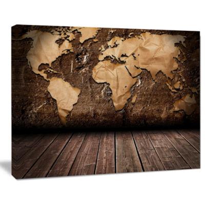 Designart Vintage Map With Wooden Floor Contemporary Canvas Art Print
