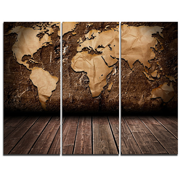 Designart Vintage Map With Wooden Floor Contemporary Canvas Art Print - 3 Panels