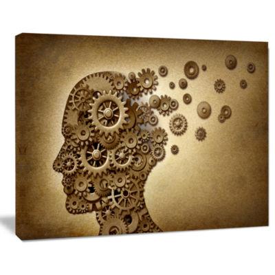 Design Art Mechanical Brain Contemporary Art Canvas Print