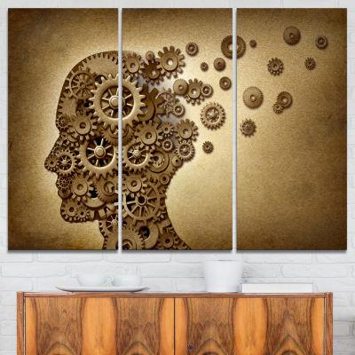 Design Art Mechanical Brain Contemporary Art CanvasPrint - 3 Panels