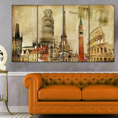 Design Art Vintage Postal Card Contemporary CanvasArt Print - 4 Panels