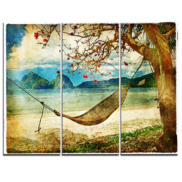 Designart Tropical Sleeping Swing Digital Art Landscape Canvas Print - 3 Panels