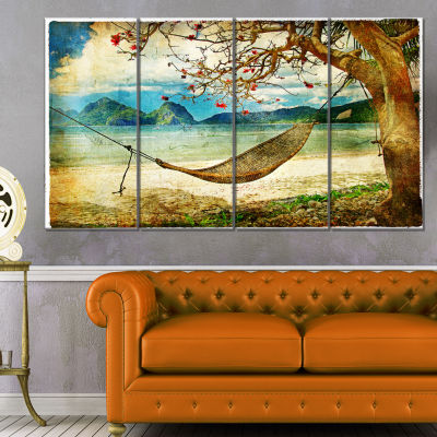 Design Art Tropical Sleeping Swing Digital Art Landscape Canvas Print - 4 Panels